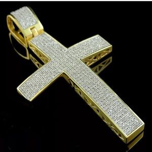 Big Real Diamond Mens Gold Cross Pendant
